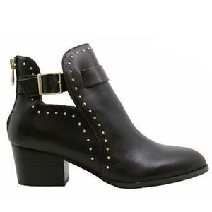 Black Moto Chic, Edgy Silver Stud Booties